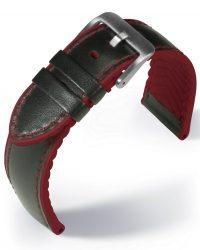EULIT Eutec Waterproof bőr óraszíj, fekete/piros 20mm