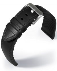 EULIT Eutec Waterproof bőr óraszíj, fekete 22mm