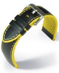 EULIT Eutec Waterproof bőr óraszíj, fekete/sárga 22mm