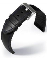 EULIT Eutec Waterproof bőr óraszíj, fekete/kék 22mm