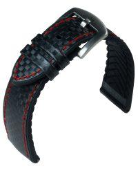 EULIT Eutec Carbon bőr óraszíj, fekete/piros 22mm