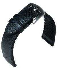 EULIT Eutec Carbon bőr óraszíj, fekete/fekete 22mm