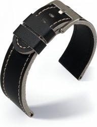 Eulit Olymp bőr óraszíj, fekete/bézs 20mm