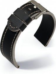 Eulit Olymp bőr óraszíj, fekete/bézs 22mm