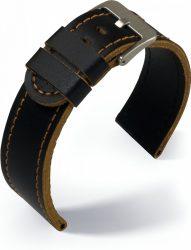 Eulit Olymp bőr óraszíj, fekete/barna 24mm
