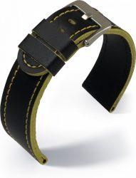 Eulit Olymp bőr óraszíj, fekete/sárga 24mm
