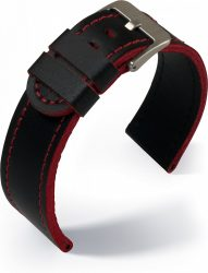 Eulit Olymp bőr óraszíj, fekete/piros 24mm
