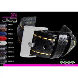 Diloy Techno Fiber bőr óraszíj, fekete/sárga, 20mm
