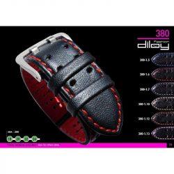 Diloy Piel Vacuno bőr óraszíj, fekete/szürke, 22mm