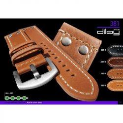 Diloy Aviator bőr óraszíj, sötétbarna, 20mm