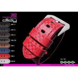 Diloy Techno Fiber bőr óraszíj, piros, 20mm
