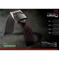 Diloy Rally bőr óraszíj, fekete/piros, 20mm