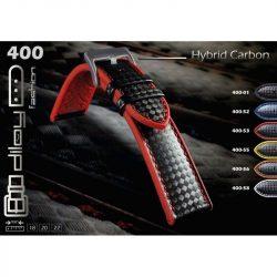 Diloy Hybrid szilikon óraszíj, fekete/fekete, 20mm