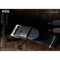 Diloy Vetusta bőr óraszíj, fekete, 20mm