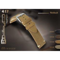 Diloy Nubuk bőr óraszíj, fekete, 22mm
