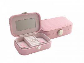 Rózsaszín műbőr ékszertartó doboz tükörrel