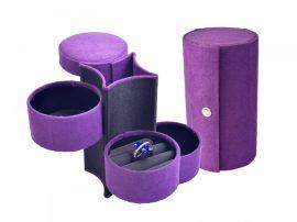 Utazó ékszertartó doboz lila színben