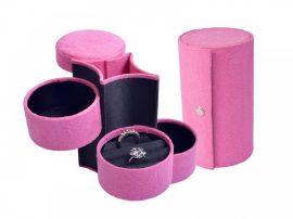 Utazó ékszertartó doboz, rózsaszín