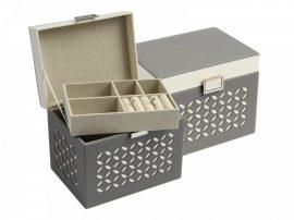 Szürke/fehér színű ékszertartó doboz kivehető tálcával