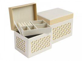 Fehér/arany színű ékszertartó doboz kivehető tálcával
