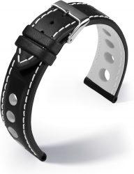 Barington Racing bőr óraszíj, fekete/fehér 18mm