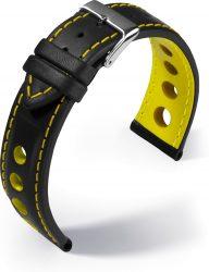 Barington Racing bőr óraszíj, fekete/sárga 18mm