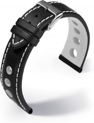 Barington Racing bőr óraszíj, fekete/fehér 20mm