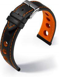 Barington Racing bőr óraszíj, fekete/narancs 20mm