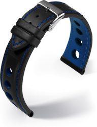 Barington Racing bőr óraszíj, fekete/kék 20mm
