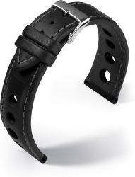 Barington Racing bőr óraszíj, fekete/szürke 22mm