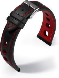 Barington Racing bőr óraszíj, fekete/piros 22mm