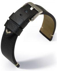 Barington Vintage bőr óraszíj, fekete 22mm
