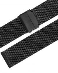 EULIT Stalux Milanaise Edehlstahl fekete fémszíj 22mm