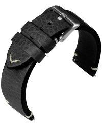 Eulit Retro bőr óraszíj, fekete 22mm