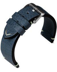 Eulit Retro bőr óraszíj, kék 22mm