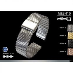 Diloy acél MESH10 óraszíj, fekete, 20mm