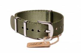 Edelwolle prémium Nato óraszíj, military zöld, 18mm
