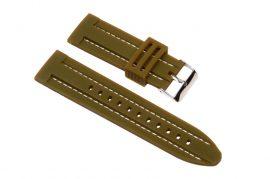 Szilikon óraszíj, navy zöld/fehér varrás, 24mm