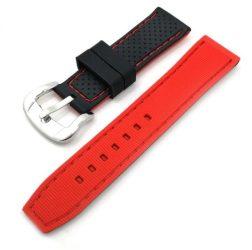 Szilikon óraszíj, fekete/piros, 24mm
