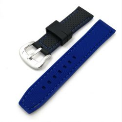 Szilikon óraszíj, fekete/kék, 24mm
